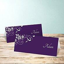 Tischkarten Hochzeit, Garten der Träume 45 Karten, Horizontale Klappkarte 100x38, Lila