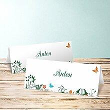 Tischkarten nostalgie, Sophias Garten 60 Karten, Horizontale Klappkarte 100x38, Grün