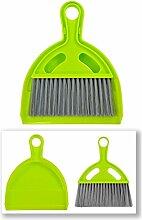 Tischkehrer Besen und Schaufel Grün - 2 Sets