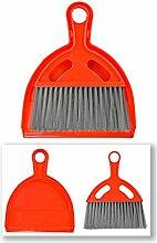 Tischkehrer Besen und Schaufel Rot - 10 Sets