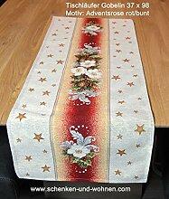 Tischläufer 37 x 98 Adventsrose Rot-bunt Gobelin