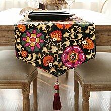 Tischläufer American Style LÄndlichen Big Flower Doppelschicht Gepolsterte Tischläufer Tv-schrank Deckel Tuch Tischdecke-A 35x220cm(14x87inch)
