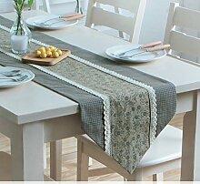 Tischläufer amerikanische pastorale gewebe moderne einfach couchtisch tischläufer europäisch spitze tv schrank tischläufer-C 35x240cm(14x94inch)