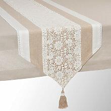 Tischläufer aus Baumwolle beige L 150 cm