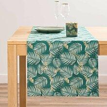 Tischläufer aus Baumwolle mit Laubdruck L150