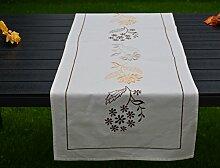 Tischläufer Blume Bestickt Landhaus Tischband Läufer Baumwolle 50 x 150 cm Ecru/Braun