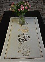 Tischläufer Blume Bestickt Tischband Läufer Baumwolle Landhaus 40 x 85 cm Ecru/Braun
