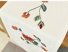 Tischläufer/cotton leinen stickerei bett flagge/tee tischläufer-A 40x160cm(16x63inch)