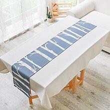 Tischläufer Deko Geometrisches Muster Weihnachten Tischdecke blau 32x 190cm