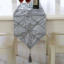 Tischläufer die neue kaffee - tischdecken tischdecken tabelle läufer stereoscopic blume moderne westliche mode atmosphäre eleganten luxus im europäischen stil ( Farbe : Grau , größe : 28*210cm )