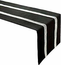 Tischläufer,Elegante Schwarze Strassstreifen