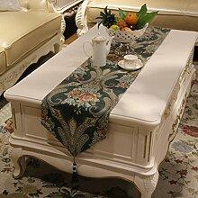 Tischläufer Europäisch Luxuriös Chinesischer Stil Tischdecke Tv-schrank Tee Tischdecke-A 32x250cm(13x98inch)
