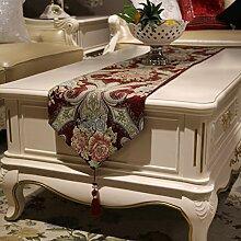 Tischläufer Europäisch Luxuriös Chinesischer Stil Tischdecke Tv-schrank Tee Tischdecke-C 32x180cm(13x71inch)