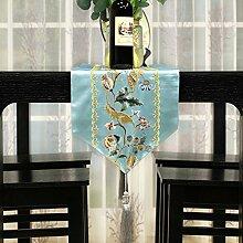 Tischläufer europäisch restaurant wartung chinese brocade stickerei table flag tee tischläufer langes tv-schrank dekoration tuch-A 32x260cm(13x102inch)