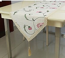 Tischläufer flachs luxus ländlichen stickerei table flag fabric tee tischläufer verschönert & bestickt grüne tv cabinet flag-A 40x175cm(16x69inch)