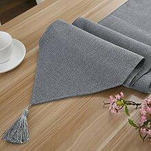 Tischläufer Grau, Vintage Baumwolle Und Leinen