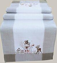 Tischläufer grau weiß Stickerei Schneemann 40 x 140 cm Weihnachtsmotiv Weihnachtstischdecke Tischdecke Weihnachtsdeko