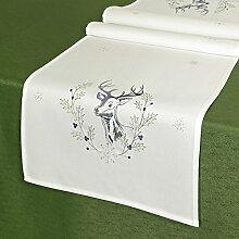 Tischläufer HIRSCH / 40x140 cm / Moderne Tischdecke für den Winter