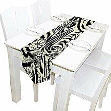 Tischläufer Home Decor, Vintage Zebra und Blumen