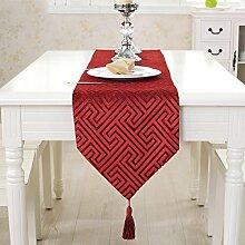 Tischläufer / Home Einfache Europäische Hohle Tischdecke / Modern Couchtisch Flagge Dekorative Tuch / Home Neue Chinesische Tischdecke Kunst / Mode West Serviette / Tischdecke / Tv Schrank Tuch, Rot, 33 * 220Cm