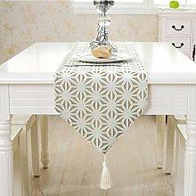 Tischläufer / Home Einfache Europäische Hohle Tischdecke / Modern Couchtisch Flagge Dekorative Tuch / Home Neue Chinesische Tischdecke Kunst / Mode West Serviette / Tischdecke / Tv Schrank Tuch, Weiß, 33 * 220Cm