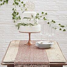 Tischläufer in Roségold / Kupfer aus glitzernden