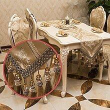 Tischläufer Jacquard Runner Küche Leinen Esstisch Dekoration Bett Läufer Doppelschichten mit Quaste Haus Dekoration ( Color : Beige 1 , Design : 35*180CM )