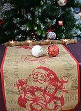 Tischläufer Läufer Jute Christmas Weihnachten Winterzeit Weihnachtsmann Nikolaus ca. 40 x 90 cm Beige/Ro