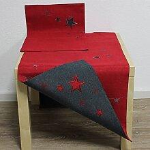 Tischläufer Läufer STERNENZAUBER 50x150cm grau rot Hossner WA (9,95 EUR / Stück)