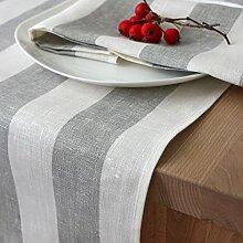 Tischläufer - Läufer - Tischband - Tischtuch - 100% Leinen - Farbe Weiss Grau - 45 x 150 cm / Varvara Home 1417