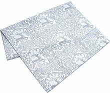Tischläufer Läufer weiß grau mit Hirschmuster 40 x 150 cm Voß