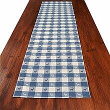 Tischläufer Landhaus-Tischdecke Karo in Blau 40 x 160 cm blau-weiß kariert Hirschmotiv für den rustikal-gemütlichen Landhaus-Stil