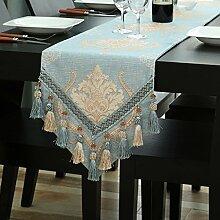 Tischläufer Luxus Blumenstickerei Läufer Tischset Hotel Bett Couchtisch Chic Hochzeit Party Dekoration Hellblau (Farbe : Light Blue A, Größe : 32*220cm)