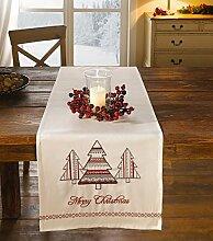 """Tischläufer """"Merry Christmas"""" creme rot Weihnachten Tischdecke"""