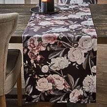 Tischläufer mit barock inszenierten Pfingstrosen