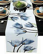 Tischläufer mit Blumenmuster, blaue Tulpen,