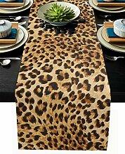 Tischläufer mit Leopardenmuster, Baumwollleinen,