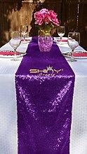 Tischläufer mit Pailletten, 30,5x 274,3cm, Champagner, von ShinyBeauty, Violett, 12x108inch