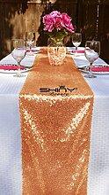 Tischläufer mit Pailletten, 30,5x 274,3cm, Champagner, von ShinyBeauty Rose Gold Color