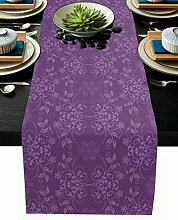 Tischläufer mit violettem Blumenmuster, Spitze,
