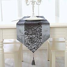 Tischläufer moderne europäische qualität, luxus - wohnzimmer kaffee tischdecken mode simple tabelle läufer tischdecken bettzeug handtücher klavier ( Farbe : Grau , größe : 33*180cm )