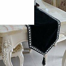 Tischläufer,Moderne Minimalistische Mode Schwarzen Samttuch,Tuch Tisch Läufer Tischfahne-A 30x180cm(12x71inch)