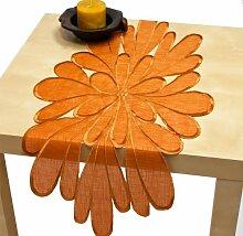 Tischläufer Organza Läufer ca. 40x85 cm orange terra Blüte, 9896