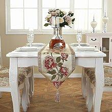 Tischläufer Pfingstrose bestickt Tischläufer Satin Bett Läufer pastoralen Kabinett moderne minimalistische Tischläufer Kaffee Tischdecke Haus Dekoration ( Color : Rot , Size : 33*180cm )