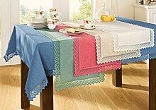 Tischläufer Spitze blau Größe 40x80 cm