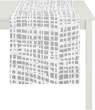 TISCHLÄUFER Textil Ausbrenner Silberfarben, Weiß