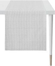 TISCHLÄUFER Textil Jacquard Grau, Weiß
