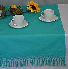 Tischläufer Tischband Läufer Fransendecke Türkis Baumwolle 50 x 150 cm