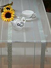 Tischläufer Tischband Läufer Halbtransparent ca.45 x 145 cm Ecru-Türkis