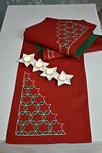 Tischläufer Tischband Winterzeit Läufer Christmas Weihnachten 33/175 Rot / Grün beidseitig verwendbar